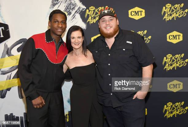 Leon Bridges Senior VP of Music Strategy at CMT Leslie Fram and Luke Combs attend the 2018 CMT Music Awards at Bridgestone Arena on June 6 2018 in...