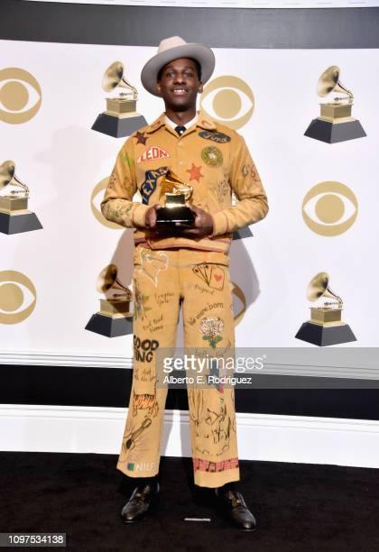 Leon Bridges, winner of Best Traditional R&b Performance for 'Bet Ain't Worth The Hand', poses in the press room during the 61st Annual GRAMMY Awards...
