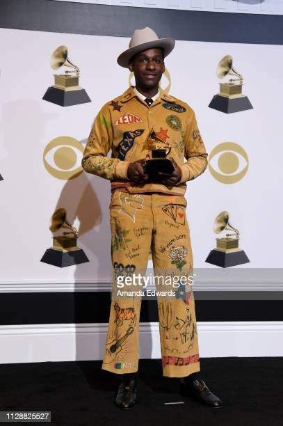 Leon Bridges winner of Best Traditional RB Performance for 'Bet Ain't Worth the Hand' poses in the press room during the 61st Annual GRAMMY Awards at...