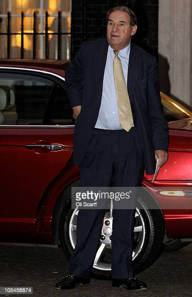 Leon Brittan arrives in Downing Street to attend a party to celebrate the 85th birthday of Baroness Thatcher on October 14 2010 in London England Due...