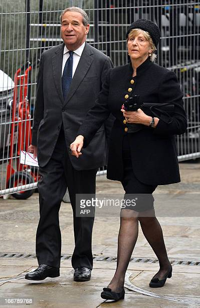 Leon Brittan former Conservative cabinet minister under Margaret Thatcher arrives for the funeral service of the late prime minister at St Paul's...