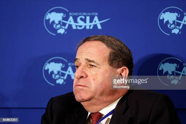 Leon Brittan vice chairman of UBS Investment Bank and nonexecutive director of Unilever participates in a forum on financial reform at the 2008 Boao...