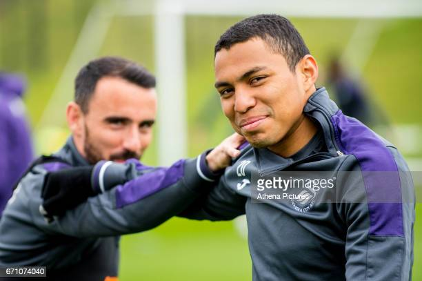 Leon Britton and Jefferson Montero during the Swansea City Training at The Fairwood Training Ground on April 20 2017 in Swansea Wales