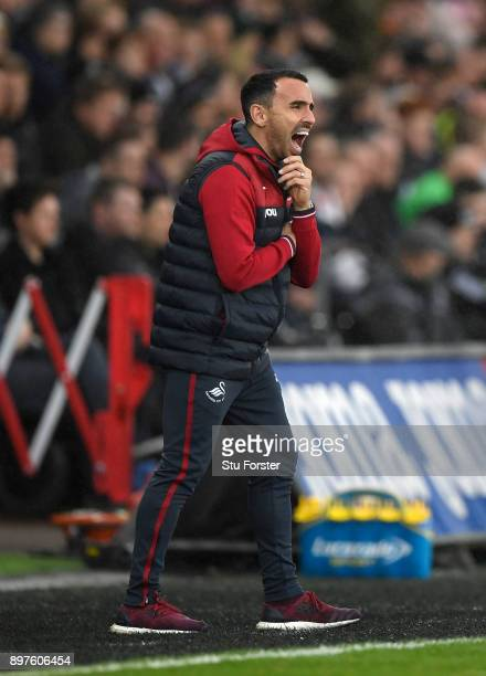 Leon Britton Caretaker manager Player/Manager of Swansea City gives his team instructions during the Premier League match between Swansea City and...