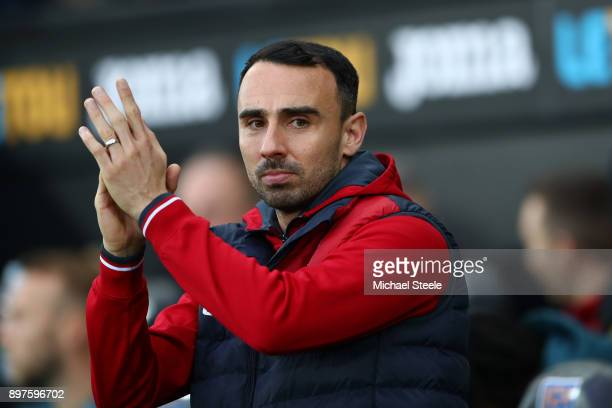 Leon Britton Caretaker manager Player/Manager of Swansea City looks on priot to the Premier League match between Swansea City and Crystal Palace at...