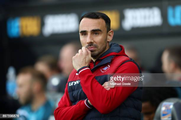 Leon Britton Caretaker manager Player/Manager of Swansea City looks on prior to the Premier League match between Swansea City and Crystal Palace at...