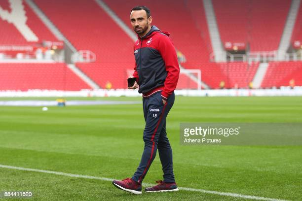 Leon Britton of Swansea City arrives at bet365 Stadium prior to kick off of the Premier League match between Stoke City and Swansea City at the...