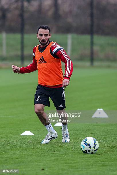 Leon Britton of Swansea City in action during the Swansea City training session at the Fairwood Training Centre on April 15 2015 in Swansea Wales