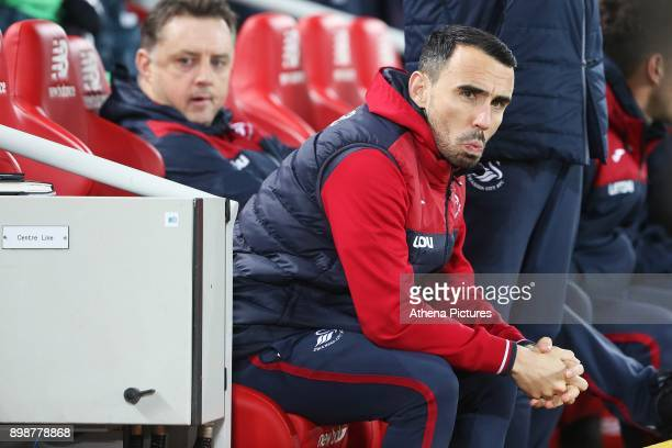 Leon Britton of Swansea City prior to kick off of the Premier League match between Liverpool and Swansea City at Anfield on December 26 2017 in...