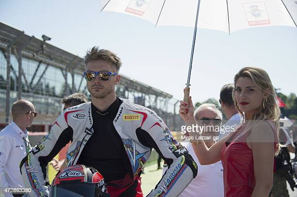 Leon Camier of Great Britain and MV Augusta Reparto Corse looks on on the grid of the WSBK race 1 during the World Superbikes Race at Enzo Dino...