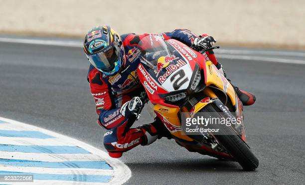 Leon Camier of Great Britain and Red Bull Honda World Superbike Team rides in the FIM Superbike World Championship Free Practice session ahead of the...
