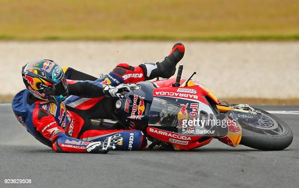 Leon Camier of Great Britain and Red Bull Honda World Superbike Team crashes in the FIM Superbike World Championship Qualifying session ahead of the...