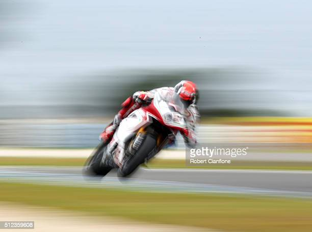 Leon Camier of Great Britain rides the MV Agusta Reparto Corse MV Agusta during practice for round one of the 2016 World Superbike Championship at...