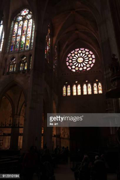 leon cathedral at noon. camino de santiago. spain - fornix stock photos and pictures