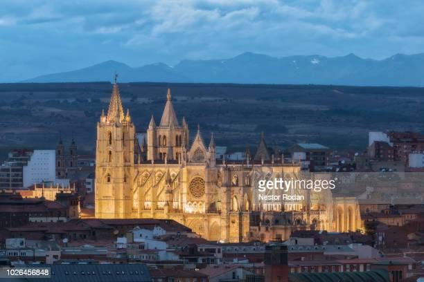 leon cathedral, leon, castilla y leon, spain - castilla y león bildbanksfoton och bilder