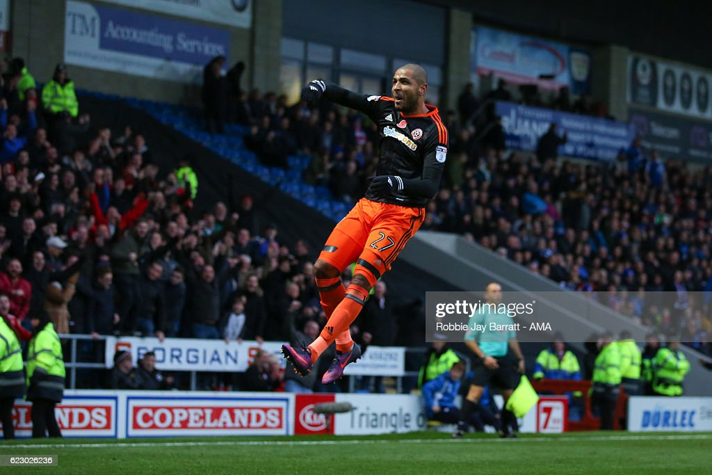 Leon Clarke of Sheffield United celebrates after scoring a goal to make it 4-1 during the Sky Bet League One match between Chesterfield and Sheffield United at Proact Stadium on November 13, 2016 in Chesterfield, England.