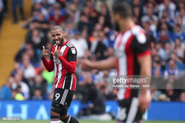 Leon Clarke of Sheffield United celebrates after scoring a goal to make it 02 during the Sky Bet Championship match between Sheffield Wednesday and...