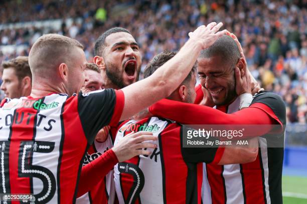 Leon Clarke of Sheffield United celebrates after scoring a goal to make it 24 during the Sky Bet Championship match between Sheffield Wednesday and...