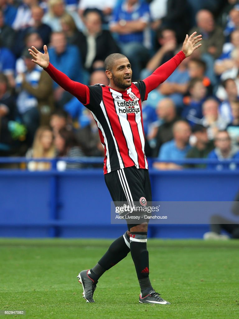 Leon Clarke of Sheffield United celebrates after scoring their fourth goal during the Sky Bet Championship match between Sheffield Wednesday and Sheffield United at Hillsborough on September 24, 2017 in Sheffield, England.