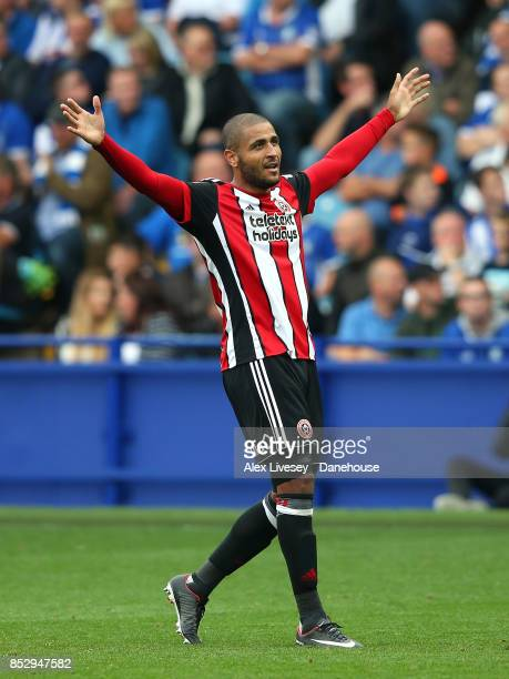 Leon Clarke of Sheffield United celebrates after scoring their fourth goal during the Sky Bet Championship match between Sheffield Wednesday and...