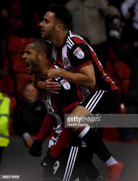 Leon Clarke of Sheffield United celebrates scoring his team's opening goal during the Sky Bet Championship match between Sheffield United and Bristol...