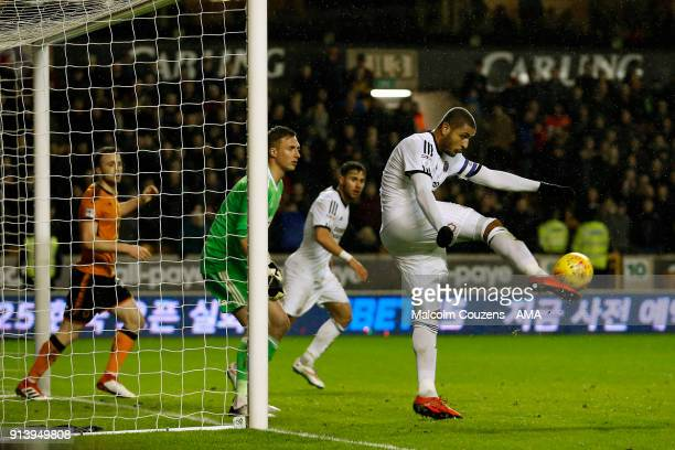 Leon Clarke of Sheffield United clears the ball during the Sky Bet Championship match between Wolverhampton and Sheffield United at Molineux on...