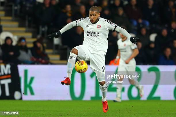 Leon Clarke of Sheffield United during the Sky Bet Championship match between Hull City and Sheffield United at KCOM Stadium on February 23 2018 in...