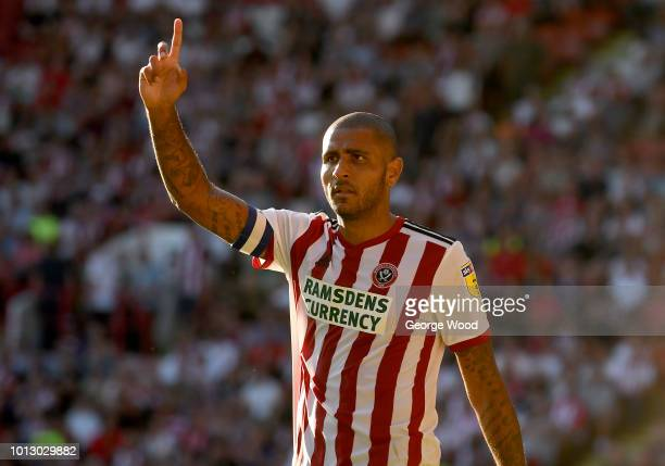 Leon Clarke of Sheffield United gestures during the Sky Bet Championship between Sheffield United and Swansea City at Bramall Lane on August 4 2018...