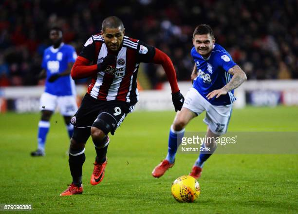 Leon Clarke of Sheffield United in action during the Sky Bet Championship match between Sheffield United and Birmingham City at Bramall Lane on...