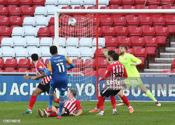 Leon Clarke of Shrewsbury shoots over the bar during the Sky Bet League One match between Sunderland and Shrewsbury Town at Stadium of Light on...