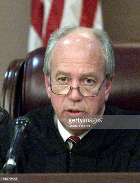 Leon County Circuit Judge N Sanders Sauls annnounces his decision 04 December 2000 at Leon County Court in Tallahassee FL rejecting a request for a...