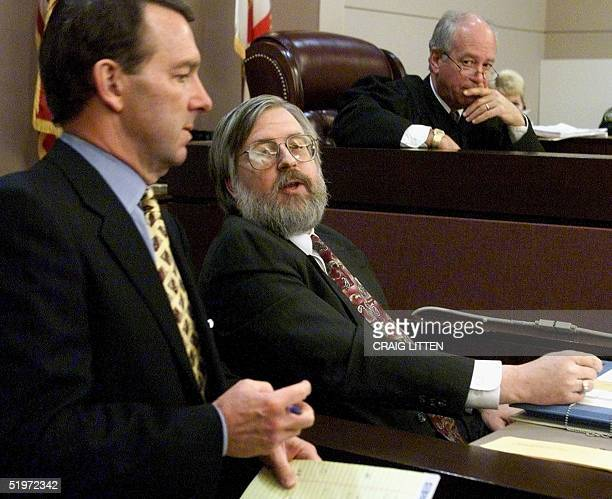 Leon County Judge N Sanders Sauls listens as Kimball Brace president of Election Data Services is crossexamined by lawyer Phil Beck 02 December 2000...