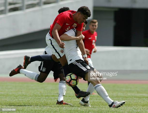 Leon Dajaku of Germany in action during the Germany vs Norway U17 at Pampeloponnisiako Stadium on March 21 2018 in Patras Greece