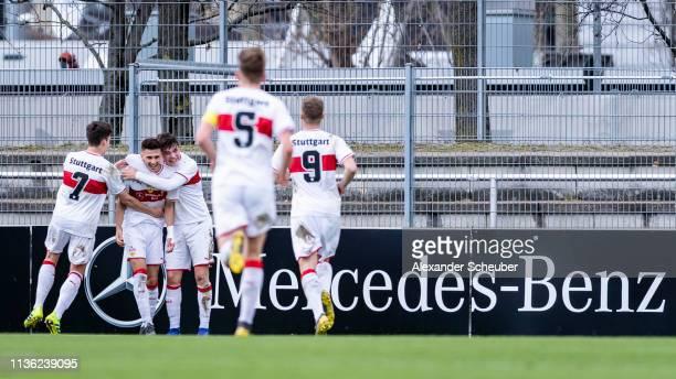 Leon Dajaku of Stuttgart celebrates his goal with his teammates during the DFB Juniors Cup Semi Final match between VfB Stuttgart U19 and SC Freiburg...