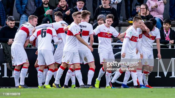 Leon Dajaku of Stuttgart celebrates the second goal for his team with his teammates during the DFB Juniors Cup Semi Final Legal 1 match between VfB...