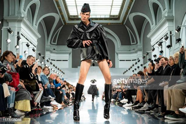 Leon Dame walks the runway during the Maison Margiela Womenswear Spring/Summer 2020 show as part of Paris Fashion Week on September 25, 2019 in...