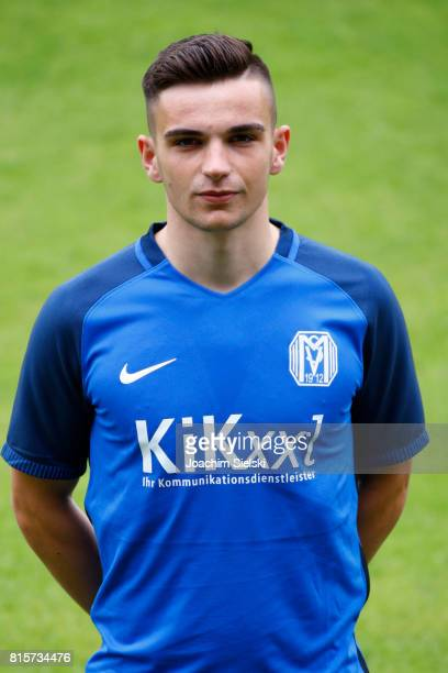 Leon Demaj of SV Meppen poses during the official team presentation of SV Meppen at Haensch Arena on July 8 2017 in Meppen Germany