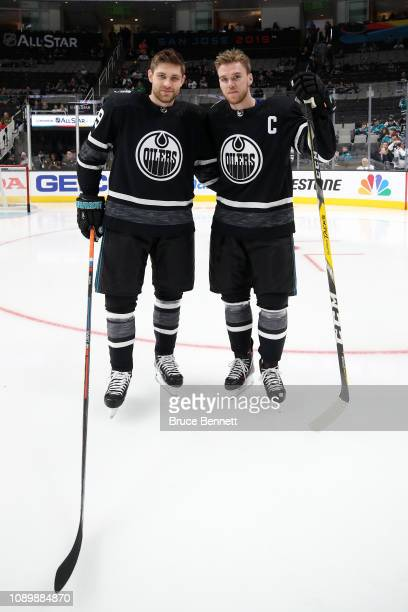 Leon Draisaitl and Connor McDavid of the Edmonton Oilers pose prior to the 2019 Honda NHL AllStar Game at SAP Center on January 26 2019 in San Jose...