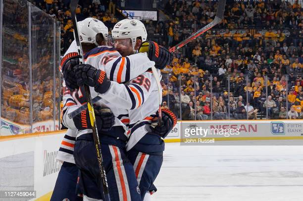 Leon Draisaitl celebrates his goal with Alex Chiasson of the Edmonton Oilers against the Nashville Predators at Bridgestone Arena on February 25 2019...