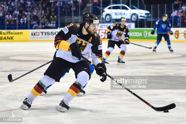 Leon Draisaitl of Germany controls the puck during the 2019 IIHF Ice Hockey World Championship Slovakia group A game between Finland and Germany at...