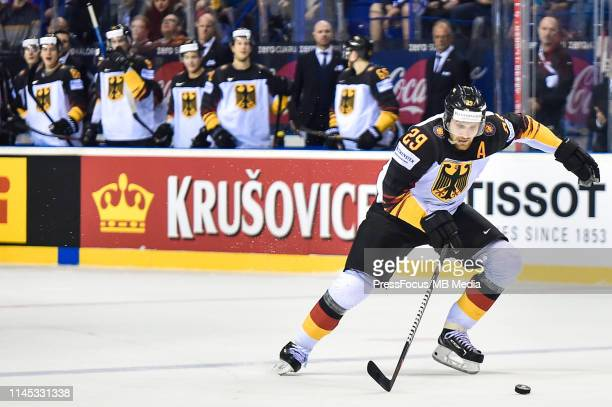 Leon Draisaitl of Germany scores final goal during the 2019 IIHF Ice Hockey World Championship Slovakia group A game between Finland and Germany at...