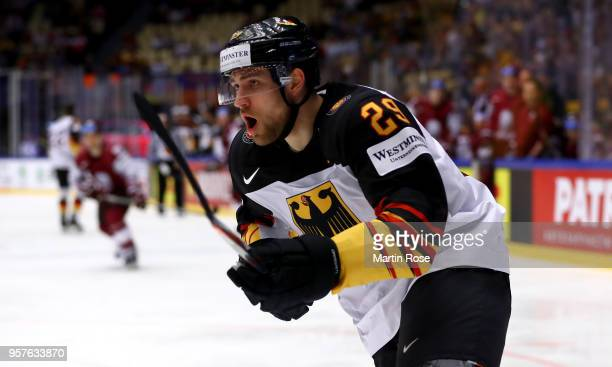 Leon Draisaitl of Germany skates against Latvia during the 2018 IIHF Ice Hockey World Championship Group B game between Latvia and Germany at Jyske...