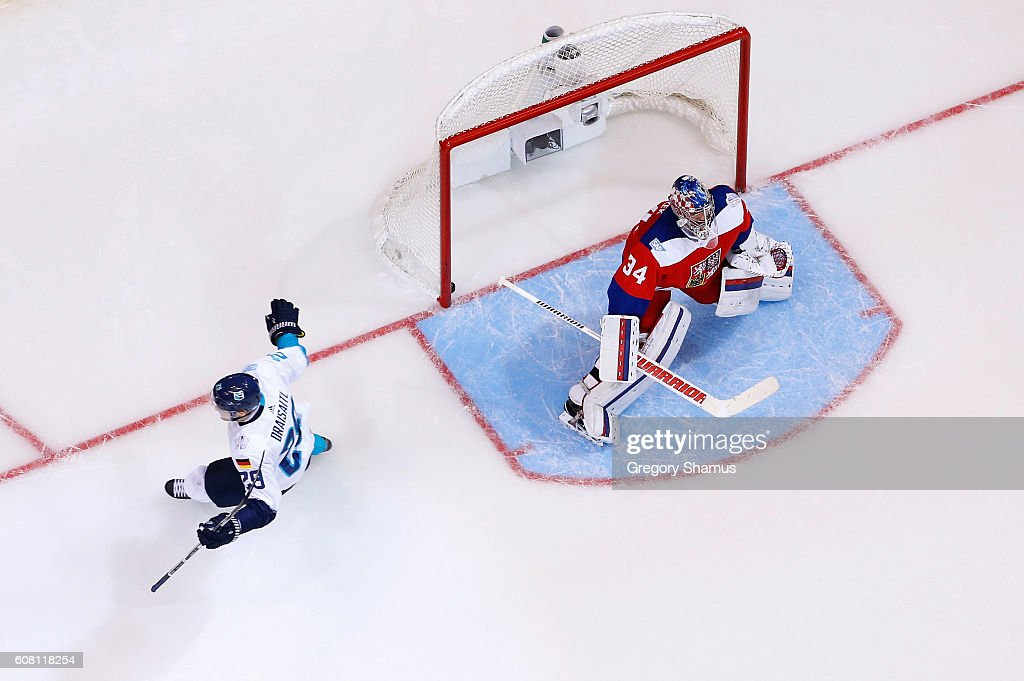 Leon Draisaitl #29 of Team Europe scores the game winning goal for a 3-2 win in overtime past Petr Mrazek #34 of Team Czech Republic during the World Cup of Hockey at the Air Canada Center on September 19, 2016 in Toronto, Canada.