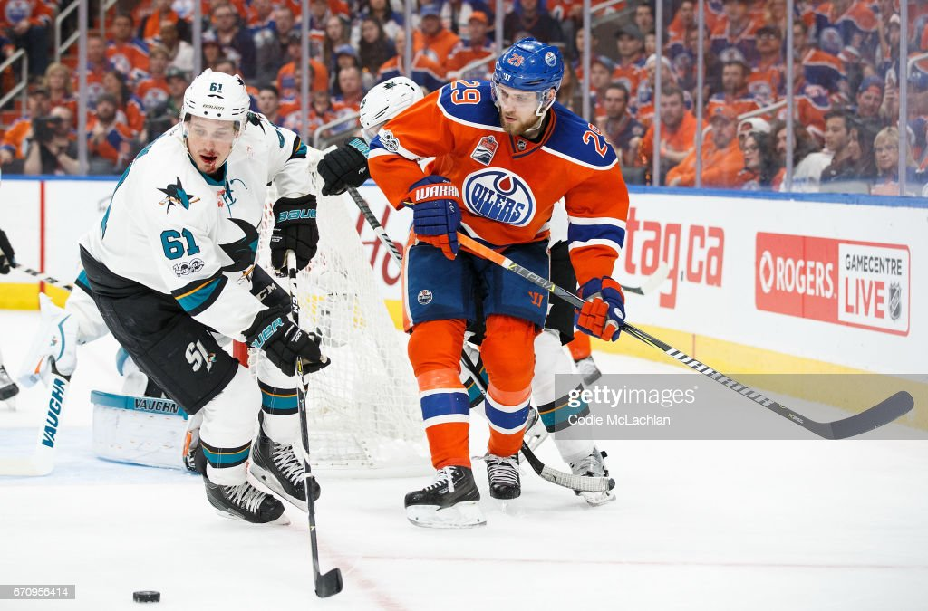 Leon Draisaitl #29 of the Edmonton Oilers battles against Justin Braun #61 of the San Jose Sharks in Game Five of the Western Conference First Round during the 2017 NHL Stanley Cup Playoffs at Rogers Place on April 20, 2017 in Edmonton, Alberta, Canada.