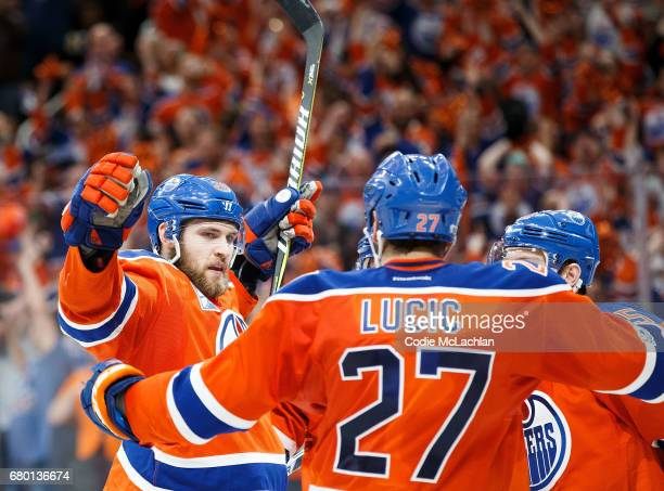 Leon Draisaitl of the Edmonton Oilers celebrates a hat trick goal against the Anaheim Ducks in Game Six of the Western Conference Second Round during...