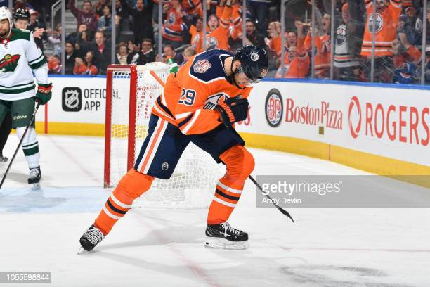 Leon Draisaitl of the Edmonton Oilers celebrates after a goal during the game against the Minnesota Wild on October 30 2018 at Rogers Place in...