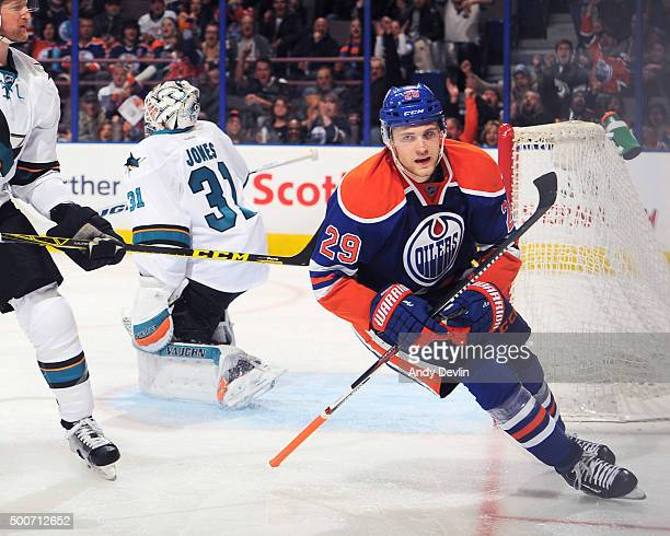 Leon Draisaitl of the Edmonton Oilers celebrates after a goal during a game against the San Jose Shark on December 2015 at Rexall Place in Edmonton...