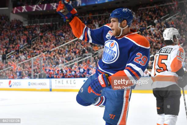 Leon Draisaitl of the Edmonton Oilers celebrates after a goal during the game against the Philadelphia Flyers on February 16 2017 at Rogers Place in...