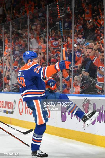 Leon Draisaitl of the Edmonton Oilers celebrates after scoring a goal during the game against the Winnipeg Jets on December 31 2018 at Rogers Place...