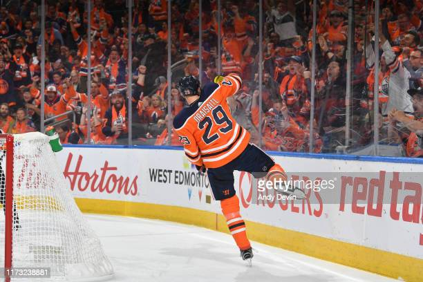 Leon Draisaitl of the Edmonton Oilers celebrates after scoring a goal during the game against the Vancouver Canucks on October 2 2019 2019 at Rogers...
